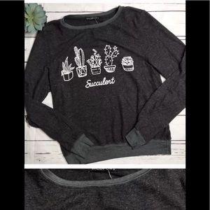 New Wildfox Gray Sweater Jumper S Succulents